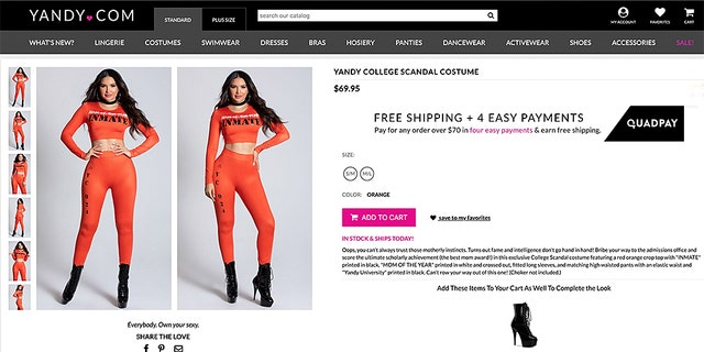 The infamous college admissions scandal has been honored with its very own sexy, inmate-inspired Halloween costume, released on Wednesday by fast fashion retailer Yandy.