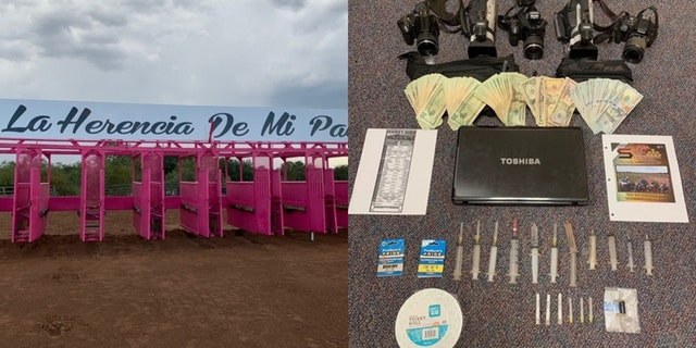 Starting gate at Yesenia Ranch bush track raided by Texas authorities Sunday. Seized were large syringes, drug paraphernalia and buzzers used to shock horses.