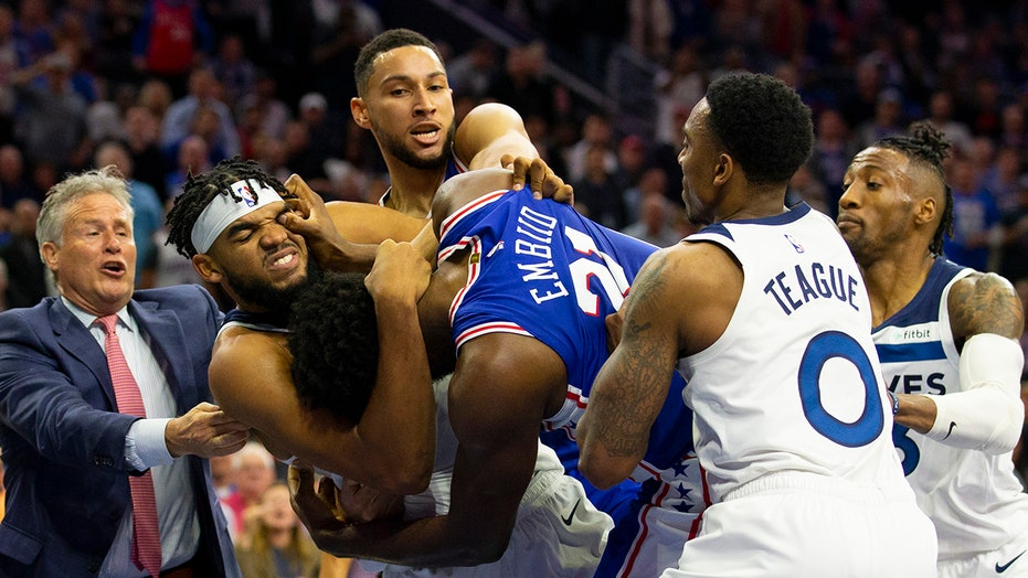 76ers Joel Embiid Ejected After Brawl With Timberwolves Karl