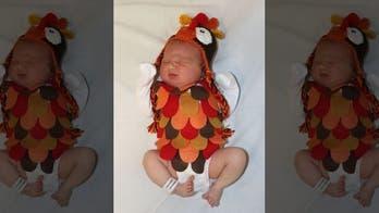 Newborns dressed as Thanksgiving dinner, sides in Texas hospital photo shoot