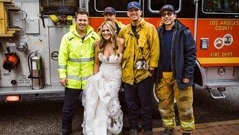 Los Angeles firefighters escort bride, bridesmaids to wedding during traffic jam