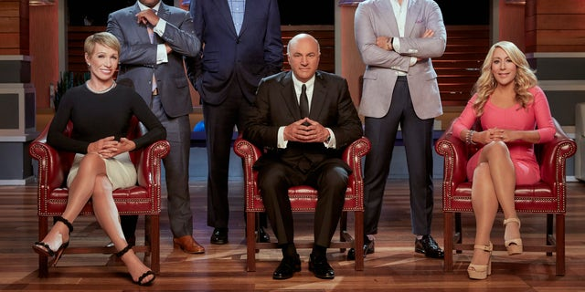 "(L- R) Barbara Corcoran, Daymond John, Mark Cuban, Kevin O'Leary, Robert Herjavec and Lori Greiner are the ""Sharks"" on ABC's ""Shark Tank."""
