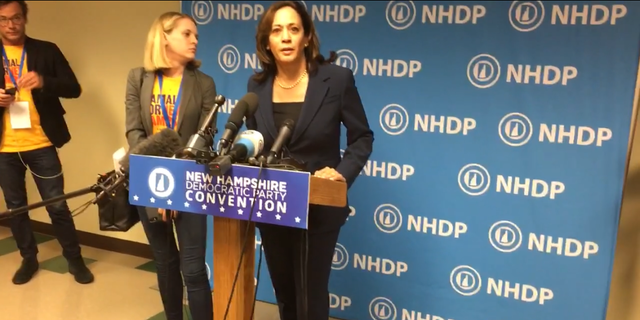 Democratic presidential candidate Sen. Kamala Harris of California, at the New Hampshire Democratic Party convention, in Manchester, N.H. on Sept. 7
