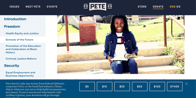 Screen grab from Buttigieg campaign website