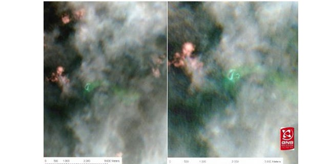 An overlay of satellite imagery of the area. The picture on the right shows the relative positions of the new, larger island and its smaller, now submerged, successor in green.