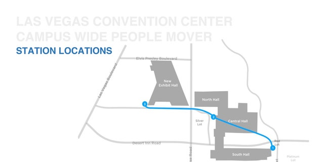 Las Vegas Convention Center, Large Campus-people mover-station locations, updated Sept. 11, 2019.