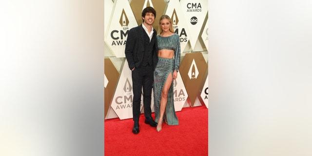 Kelsea Ballerini and husband Morgan Evans attend the 53rd Annual CMA Awards on Wednesday, Nov. 13, 2019 at Bridgestone Arena in Nashville.