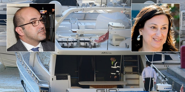 Fenech (inset left) was arrested aboard his yacht as it was sailing divided from Malta. He was named a chairman of seductiveness in a assassination of inquisitive journalistDaphne Caruana Galizia (inset right).(AP Photo/Jonathan Borg)