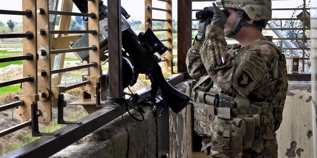 A U.S. Army Sgt. provided security from an observation tower at Forward Operating Base Fenty in Afghanistan.