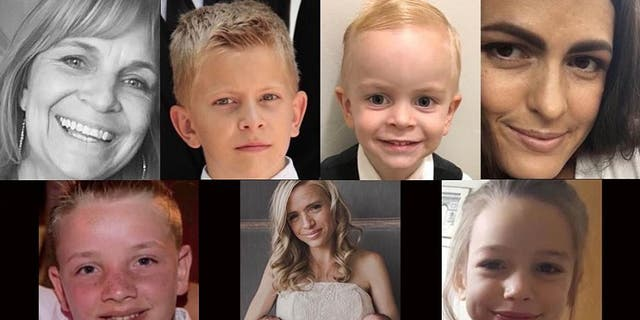 Clockwise from top left: Dawna Langford, Trevor Langford, Rogan Langford, Christina Marie Langford Johnson, Kristal Miller, Rhonita Maria Miller and twins Titus and Tiana, and Howard Miller. (GoFundMe)