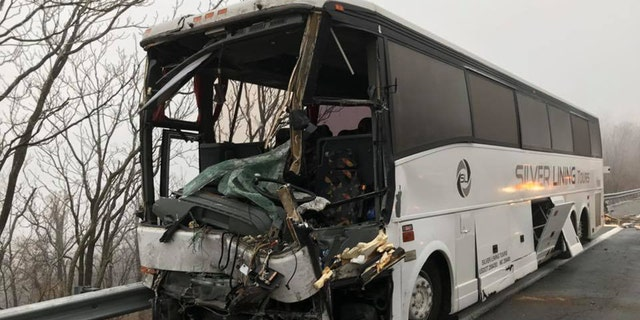 Damage to a chartered bus after a multi-vehicle accident on Interstate 64 in Virginia Sunday morning.