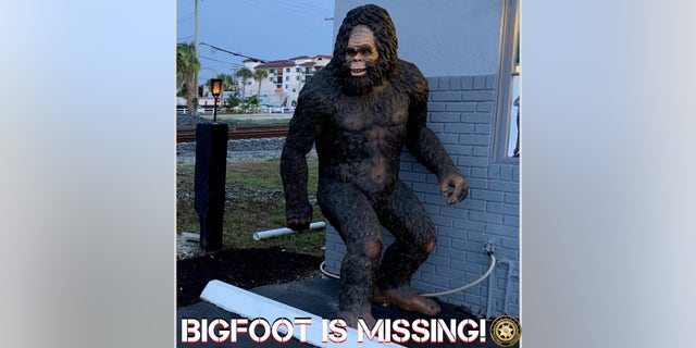 An 8-foot tall statue of Bigfoot was stolen from outside a Florida mattress store, police said. (Boynton Beach Police Department)