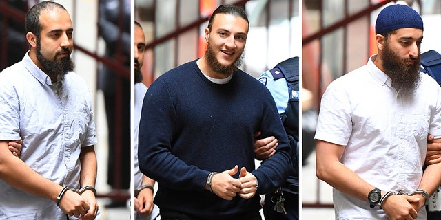 In this composite image of Hamza Abbas, left, Ahmed Mohamed and Abdullah Chaarani, right, arrive at the Supreme Court of Victoria, in Melbourne, Australia, Friday, Nov. 29, 2019. Mohamed, Chaarani and Abbas were given lengthy prison sentences over preparing a mass attack around Christmas 2016 involving explosives and knives at Federation Square, a popular downtown restaurant and entertainment precinct in Melbourne. (James Ross/AAP Image via AP)