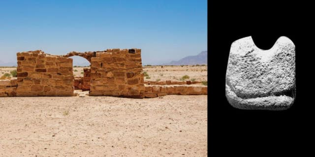 A small, rectangular stone (right), previously excavated at the Jordanian site of Humayma (shown at left), may be the oldest known chess piece, a rook dating to around 1,300 years ago.
