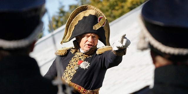 Oleg Sokolov, a history professor at St. Petersburg State University, speaking at a staged battle reenactment.