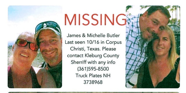 The Sheriff's Office in Kingsville, Texas, shows James and Michelle Butler, NH, who were found dead in Texas last week. (Kleberg County Sheriff's Office via AP)