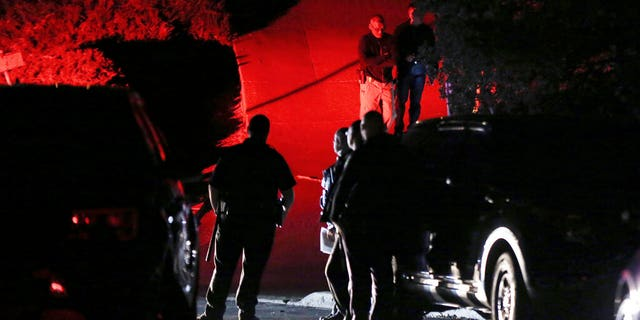 Contra Costa County sheriff's deputies investigate a multiple shooting in Orinda, Calif., on Thursday, Oct. 31, 2019. (Associated Press)