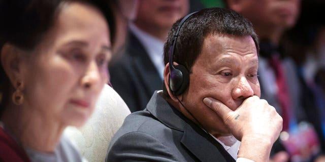 Philippines' President Rodrigo Duterte participates in ASEAN-U.N. summit in Nonthaburi, Thailand, Sunday, Nov. 3, 2019.