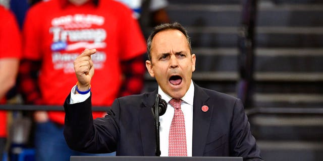 Kentucky Gov. Matt Bevin addressing the audience before President Trump's appearance at the rally in Lexington, Ky., on Monday. (AP Photo/Timothy D. Easley)