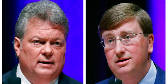 This combination image of Oct. 10, 2019, file photos shows Democratic State Attorney General Jim Hood, left, and Republican Lt. Gov. Tate Reeves during the first televised gubernatorial debate at the University of Southern Mississippi in Hattiesburg, Miss. (AP Photo/Rogelio V. Solis, File)