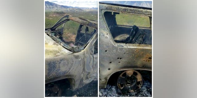 This combination of frames from Nov. 4, 2019, video by Kenny Miller and posted on the Twitter account of Alex LeBaron shows two views of a burned-out vehicle that was being used by some members of the LeBaron family as they were driving in a convoy near the Sonora-Chihuahua border in Mexico. Mexican authorities say drug cartel gunmen ambushed multiple vehicles, including this one, slaughtering several women and children.
