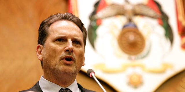 In this Aug. 30, 2018 file photo, Pierre Krahenbuhl, Commissioner-General of the United Nations Relief and Works Agency for Palestine Refugees (UNRWA), speaks at a press conference in Amman, Jordan.
