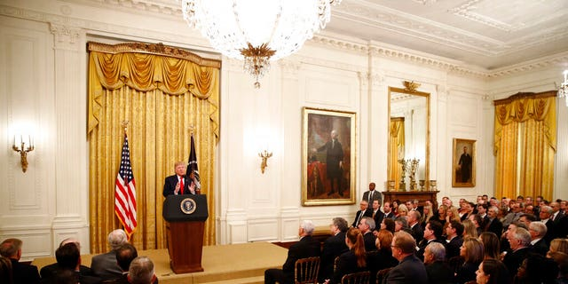 President Donald Trump speaks in the East Room of the White House about his judicial appointments, Wednesday, Nov. 6, 2019, in Washington. (AP Photo/Patrick Semansky)