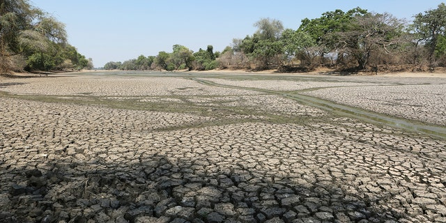 A sun-baked pool that used to be a perennial water supply is seen in Mana Pools National Park, Zimbabwe. An estimated 45 million people are threatened with hunger due to a severe drought that is strangling wide stretches of southern Africa. (AP Photo/Tsvangirayi Mukwazhi)