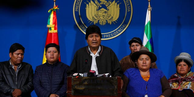 Morales announced his resignation under mounting pressure from the military and the public after his re-election victory triggered weeks of fraud allegations and deadly protests. (AP Photo/Juan Karita)