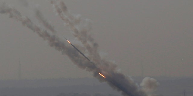 Rockets are launched from Gaza Strip to Israel, Tuesday, Nov. 12, 2019. (AP Photo/Hatem Moussa)
