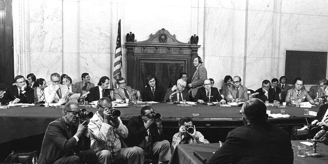 FILE - In this Aug. 3, 1973, file photo, the Senate Watergate Committee hearings continue on Capitol Hill in Washington. (AP Photo/File)