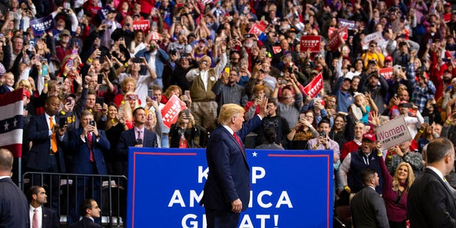 President Donald Trump arriving at the campaign rally at the CenturyLink Center, in Bossier City, La., Thursday evening. (AP Photo/ Evan Vucci)