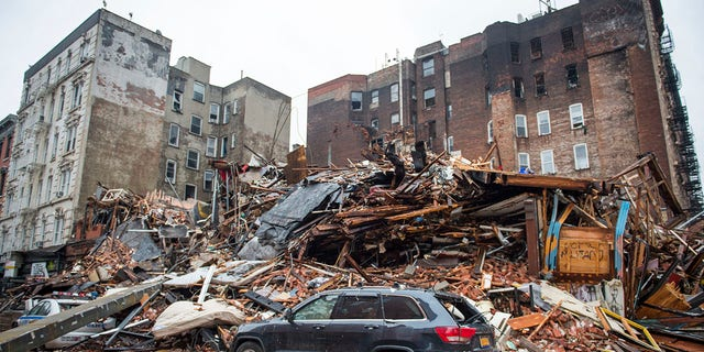 A pile of debris is seen at the site of a building explosion in the East Village neighborhood of Manhattan in New York City, March 27, 2015. (Associated Press)