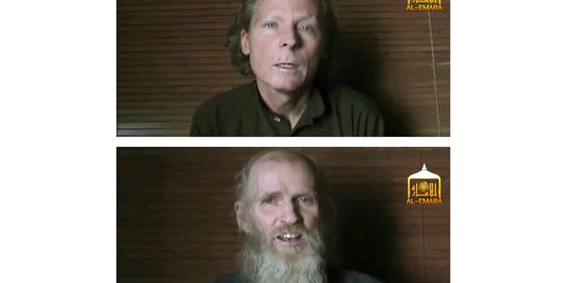 FILE: Kidnapped teachers Australian Timothy Weeks, top, and American Kevin King, were abducted at gunpoint in Afghanistan in August 2016.