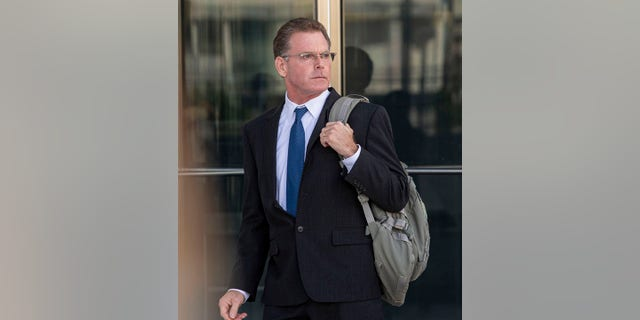Douglas Haig leaves the Lloyd George Federal Courthouse, Tuesday Nov. 19, 2019, in Las Vegas, after pleading guilty to illegally manufacturing tracer and armor-piercing bullets found in a high-rise hotel suite where a gunman took aim before the Las Vegas Strip massacre two years ago. (Elizabeth Page Brumley/Las Vegas Review-Journal via AP)