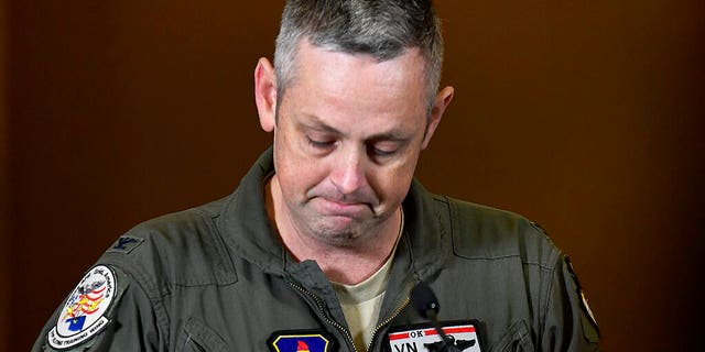 Col. Corey A. Simmons, Commander 71st Flying Training Wing Vance Air Force Base addresses reporters on the death of two airmen during T-38 Talon training operations
