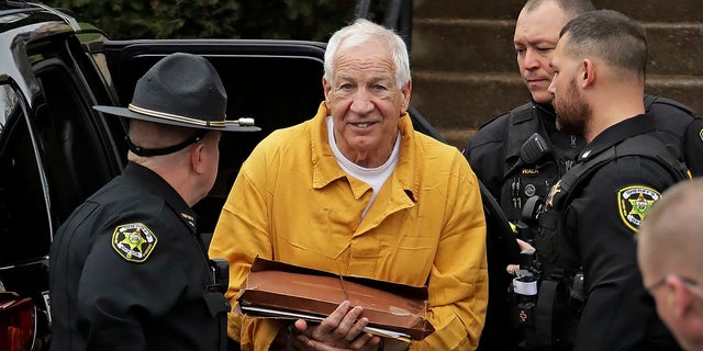 Jerry Sandusky arrives for his resentencing hearing Friday. (AP Photo/Gene J. Puskar)