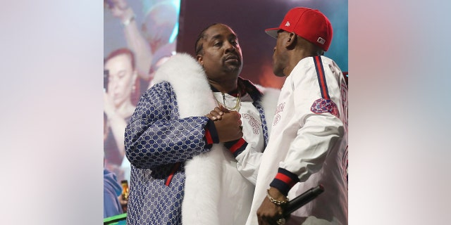 FILE - In this June 1, 2018, file photo, DJ Eric B and rapper Rakim shake hands after performing at the Yo! MTV Raps: 30TH Anniversary Experience at the Barclays Center in New York. Rapper and actor Eric B. was sentenced to a year's probation Friday, Nov. 22, 2019, stemming from a motor vehicle stop and police chase that occurred nearly 19 years ago but wasn't resolved because he failed to show up for his sentencing.