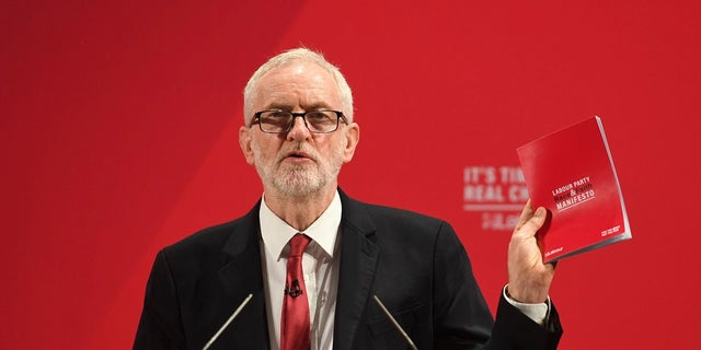 Britain's main opposition Labour Party leader Jeremy Corbyn spoke at the launch of the Labour Party race and faith manifesto in London on Tuesday. (Joe Giddens/PA via AP)