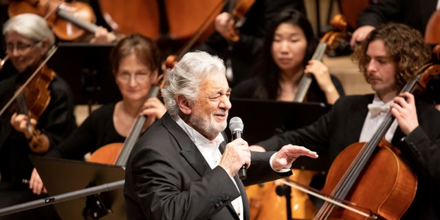 Opera star Placido Domingo performs during a concert at the Elbphilharmonie in Hamburg, Germany, on Wednesday, No. 27, 2019.