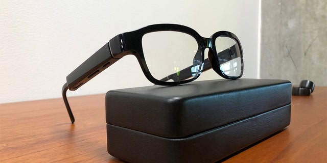 Amazon's new eyeglasses that come with a practical partner Alexa, a Echo Frames, rest on a arrangement during a company's domicile in Seattle, Washington, U.S. Sep 25, 2019. REUTERS/Jeffrey Dastin - RC147BC56390