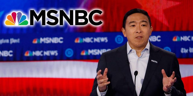 Andrew Yang and his supporters bashed MSNBC, which hosted the most recent presidential debate. (AP Photo/John Bazemore, Montage)