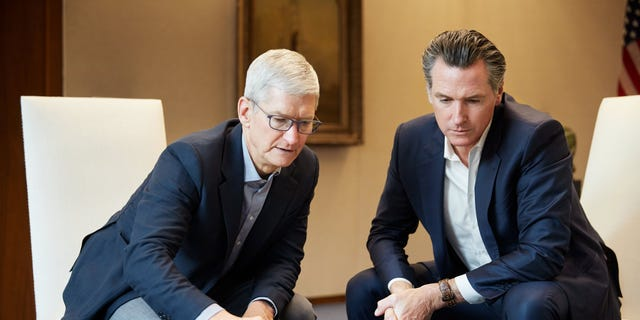 Apple CEO Tim Cook and California Gov. Gavin Newsom discuss the San Jose land Apple is making available for affordable housing. (Courtesy of Apple)