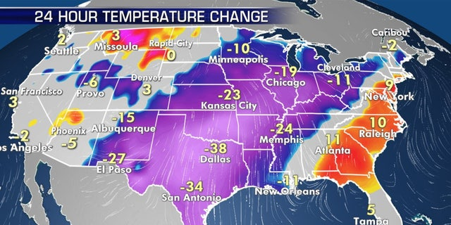 Temperatures have plunged as the Arctic Front has moved through.