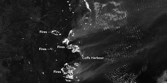 This Nov. 9, 2019, satellite photo taken by NASA shows Bushfires still raging in Australia.