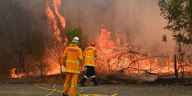 Firefighters are holding a bushfire to save a home in Taree, 350km north of Sydney on November 9, 2019 as they try to contain twelve. -there's out-of-control blazes-infuriating the state of New South Wales. - At least two people were killed and 100 homes were destroyed as an unprecedented number of bushfires destroyed in eastern Australia. (Photo by PETER PARKS / AFP) (Photo by PETER PARKS / AFP via Getty Images)
