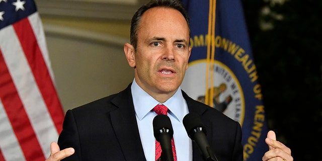 Kentucky Gov. Matt Bevin announces his intent to call for a recanvass of the voting results from Tuesday's gubernatorial elections during a news conference at the Governor's Mansion in Frankfort, Ky., Wednesday, Nov. 6, 2019. (Associated Press)