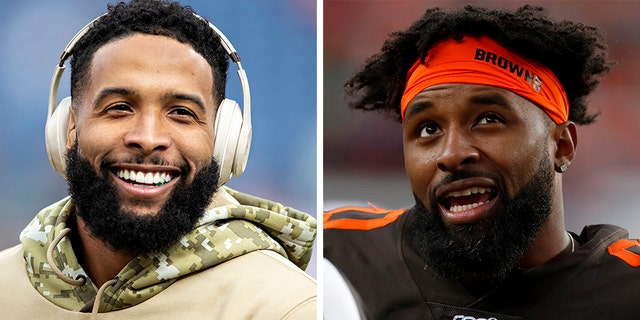 Cleveland Browns receivers Odell Beckham Jr., left, and Jarvis Landry put their team in jeopardy Sunday over their cleats. (Getty/AP, File)