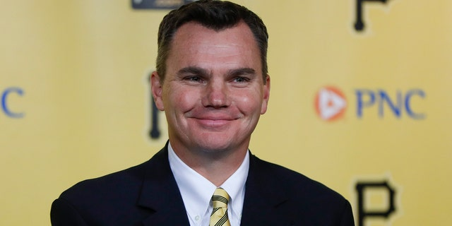 Ben Cherington smiles as he is introduced as the new general manager of the Pittsburgh Pirates baseball team at a news conference, Monday, Nov. 18, 2019, in Pittsburgh. (AP Photo/Keith Srakocic)