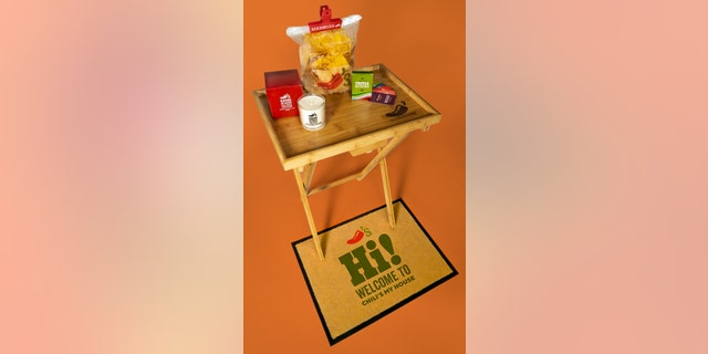 "The Chili's ""starter pack"" comes with a rib-scented candle, a doormat, a TV tray, a trivia game and a chip bag clip."